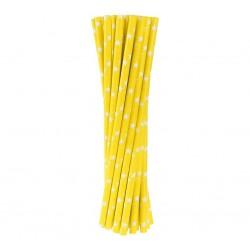 Papírová brčka žlutá s hvězdičkami