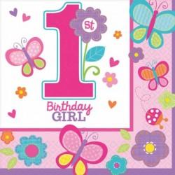 Růžové ubrousky s žirafou 1. narozeniny